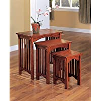 1PerfectChoice 3 Pieces Simple Mission Design Nesting Tables Snack Table Stand Solid Wood Oak
