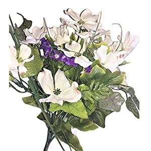 "Beauty Blooms Purple & White Silk Dogwood & Purple Flowering Vine Accent, 18"" Tall, Floral Arrangements, Vase, Urn, Memorial Tribute, Table Top, Projects, Wedding Bouquets, Corsages, Wreaths, Swags 14"