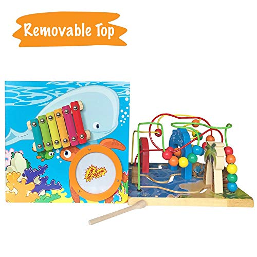 Under The Sea Adventures, Deluxe Activity Wooden Maze Cube - Perfect for Kids Play, Musical Activity, and Toddlers Early Developmental Skills by Pidoko Kids (Image #4)