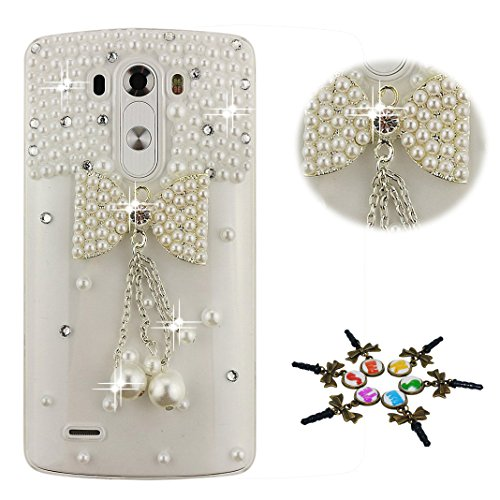 STENES LG Stylo 4 Case - Stylish - 100+ Bling Crystal - 3D Handmade Bowknot Pearl Pendant Design Protective Cover Case for LG Stylo 4 / LG Q710MS - White ()