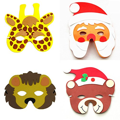 Kids Mask Party Zoo EVA Foam Cartoon Animal Masks for Kids Birthday Party Favors Chiildren Party Dress Up Costume Zoo Jungle Party Supplies ()