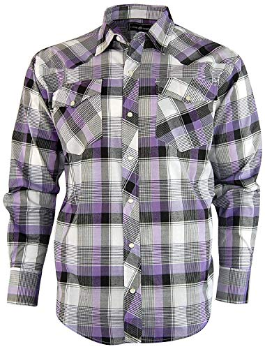 Casual Country Men's Snap-Front Western Plaid Shirt (Large, Purple)
