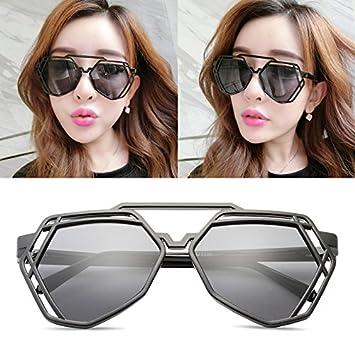 cdb028f0f39e new elegant personalized sunglasses, Ladies Sunglasses, male tide star  glasses, round face, Korean retro eyes,Black box (bag) grey film:  Amazon.co.uk: ...