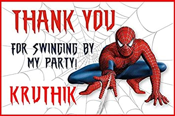 Wow Party Studio Personalized Spiderman Theme Birthday Party Thank