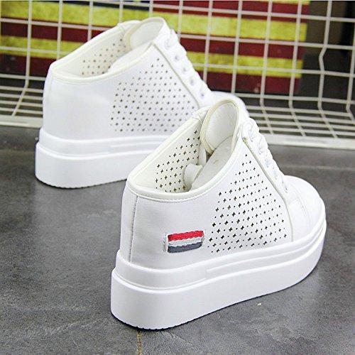 KPHY-Damenschuhe Sommer Luftdurchlässigkeit Erhöhte Hohl Weiße Weiße Weiße Schuhe Harten Boden Schüler - Pantoffeln Faul Schuhe. 370d74