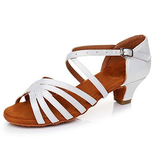de de ESLPXGG Modelo Mujeres Performance de Zapatillas Salón Danza Baile Zapatos Calzado de Salsa Tango amp;Niña Latinos Baile Blanco YKXLM U0wZx0