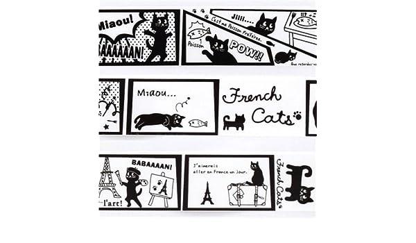Linda cinta adhesiva decorativa blanca comic tebeo gatos franceses París: Amazon.es: Juguetes y juegos