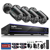 SANNCE 16CH 1080N Security Camera System DVR Recorder with 4PCS 720P CCTV Home Surveillance Camera,IP66 Weatherproof, Email Alarm, NO Hard Drive