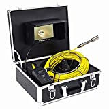 TOPWILL 7 inch TFT Color Sewer Pipe Inspection Camera System Pipe Inspection Camera, Drain sewer Industrial Endoscope 12 LED Lights 20m fiberglass cable