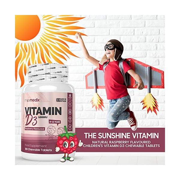 Vitamine D Enfant – 180 Comprimés Goût Framboise 1000 ui MaxMedix | Vitamine D3 Naturelle à Croquer | Complément…