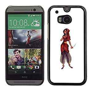 Colorful Printed Hard Protective Back Case Cover Shell Skin for HTC One M8 ( Indian Woman Dress Knife Warrior Princess )