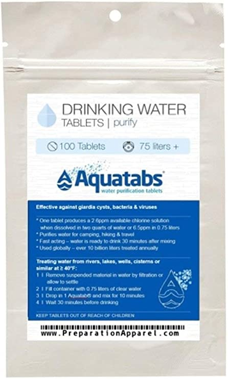 Aquatabs AQT100 Water Purification Tablets Pack of 100