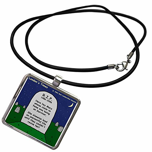 3dRose Rich Diesslins Miscellaneous Funny Cartoons - Survivor Tombstone - Necklace With Rectangle Pendant (Cartoon Tombstone)