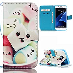 Pour Samsung Galaxy S7 / G930 Billetera Coque Housse Etui Ougger(TM) Slim Fit Premium PU Cuero Support Horizontal Magnética Cierre Bumper Protector Protection Cartoon Patrón