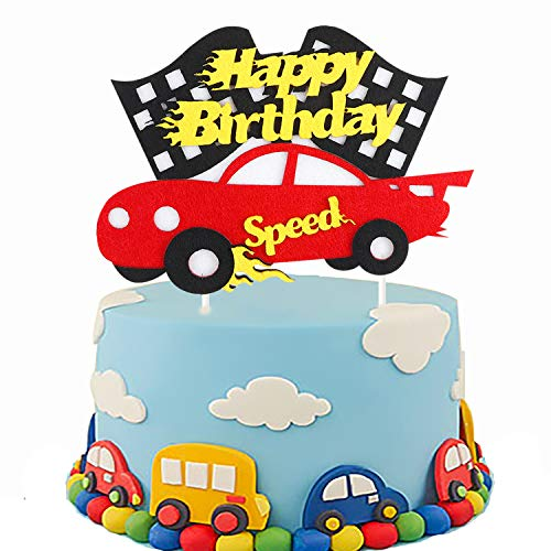 PANTIDE Birthday Cake Topper Decoration - Racing Car Theme Birthday Party Decoration Ideas Baby Shower Birthday Cake Supplies -