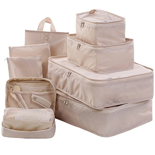 - Travel Packing Cubes Set Toiletry Kits Bonus Shoe Bag JJ POWER Luggage Organizers (Beige)