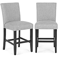 Belleze 24 Dining Chairs Fabric Kitchen Parsons Urban Style Counter Height with Solid Wood Legs Set of 2, Gray