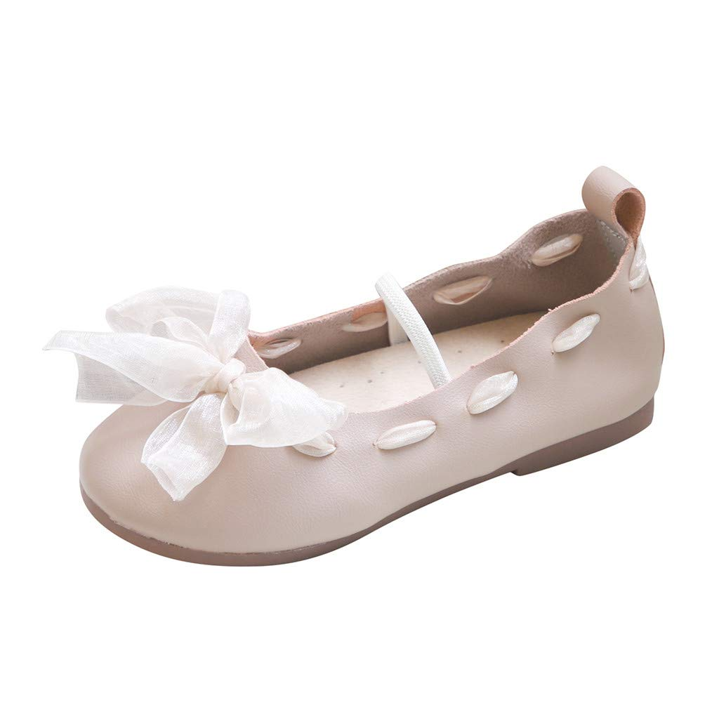 Tantisy ♣↭♣ Little Princess Lace Strappy Dancing Shoes Girls Soft Comfy Ballet Flats Shoes Mary Jane Dress Shoes Khaki