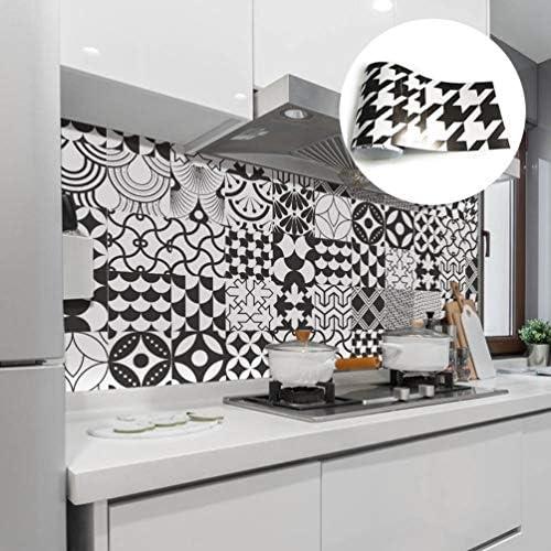 キッチンバスルームインテリア、自己粘着ピールとスティックタイルbacksplashの、7.9x196.8インチ/ロール用防水ビニールの壁のタイルステッカーデカール,黒
