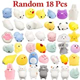 WATINC 18 Pcs Cute Animal Squishy, Kawaii Mini Soft Squeeze Toy,Fidget Hand Toy for Kids Gift,Stress Relief,Decoration,18 Pack