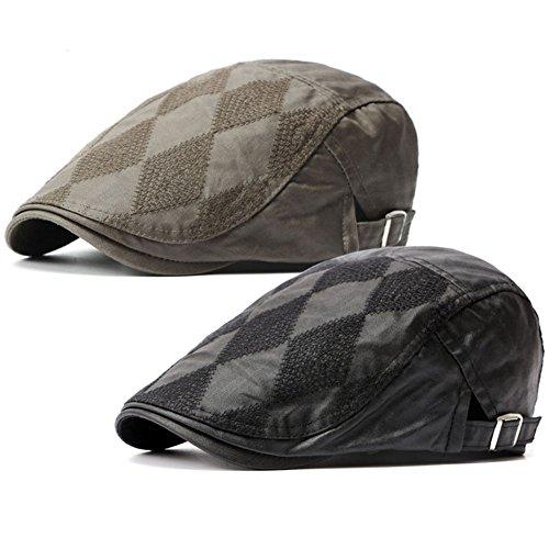 2 Pack Men's Cotton Flat Cap Ivy Gatsby Newsboy Cabbie Caps Hunting Hat (Black/Army Green)