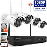 [Expandable System]Wireless Security Camera System,SMONET 8CH HD 1080P IP Camera Security System with 2TB Hard Drive,4pcs 2MP Indoor/Outdoor Wireless IP Cameras,P2P,65ft Night Vision,Easy Remote View