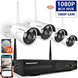 [8CH Expandable] Wireless Security Camera System,SMONET 8CH 1080P IP Camera Security System(2TB Hard Drive),4pcs 2.0MP Indoor/Outdoor Wireless Security Cameras,P2P,65ft Night Vision,Easy Remote View