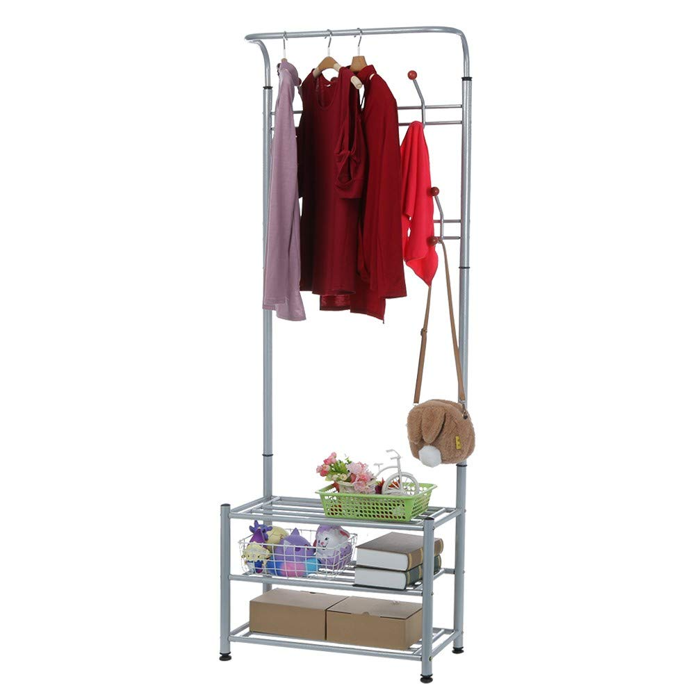 HOHNK Coat Holer and Shoe Rack 3-Tier Shoe Bench with Coat Hat Umbrella Rack, Metal Frame,Easy Assembly