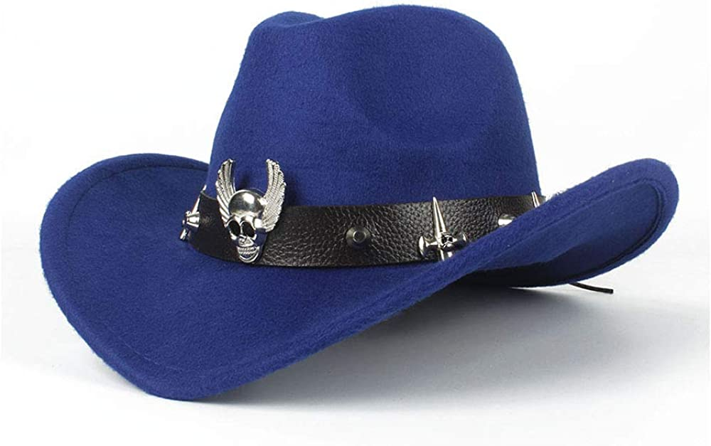 JIADUOBAOSEN Fashion Womens Western Cowboy Hat Jazz Hat with Bismuth Alloy Tape Equestrian Hat