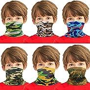 Congralala 6 Pieces Kids Face Mask Sun UV Protection Kids Neck Gaiter Boys Girls Windproof Scarf Bandana Balac