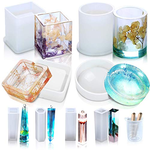 - Iulove Resin Silicone Mold DIY Coaster Flower Pot Ashtray Pen Pendant Candle Soap Hold