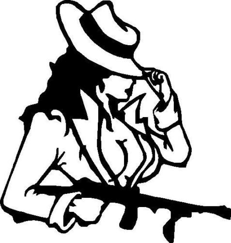 ELKS Unique Design Lady Gangster with A Gun Decal CAR Sticker, Pink, 6 in, Die Cut Vinyl Decal, for Windows, Cars, Trucks, Toolbox, Laptops, MacBook-virtually Any Hard Smooth Surface -