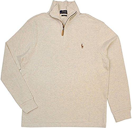 Polo Ralph Lauren Men's Half Zip French Rib Cotton Sweater (FadedCream, XL)