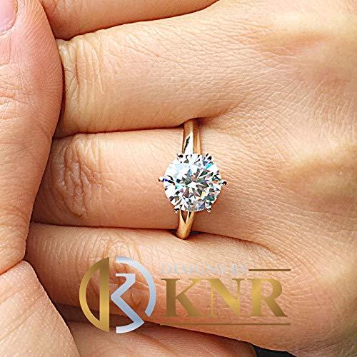 (Women's Large Three Carat 14k Yellow Gold Round Simulated Diamond Engagement Ring, Bridal, Wedding, Anniversary, Prong Set, Solitaire)