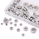 KINPAR 304 Stainless Steel Hex Flange Nuts,M3 M4 M5 M6 M8 M10 M12 Hex Flange Nuts Assortment Kit,88PCS