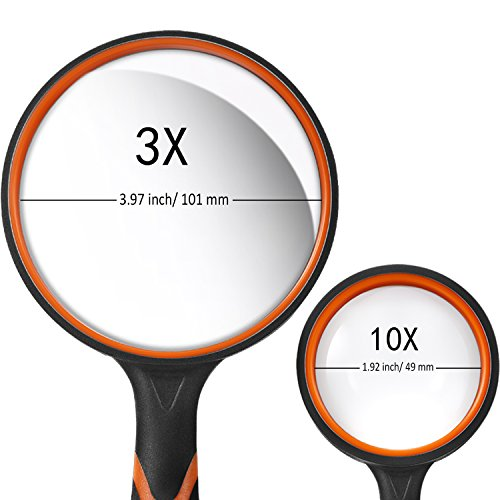Gejoy 2 Pieces Magnifying Glass Handheld Reading Magnifier 100 mm 3X Large Magnifying Lens 50 mm 10X Small Magnifying Lens with Non-Slip Soft Rubber Handle for Reading, Hobbies, Repair, Observation by Gejoy (Image #3)