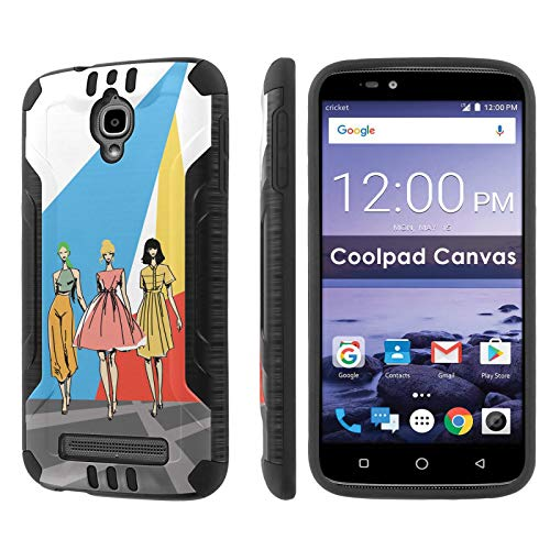 (Coolpad Canvas Deluxe Phone Case by [TalkingCase], Black Premium Hybrid Duo-Layer Case, Armor Exterior/Soft Gel Interior Cover Made for Canvas,3636A [Runway Fashion Girls] Print, Designed in USA)