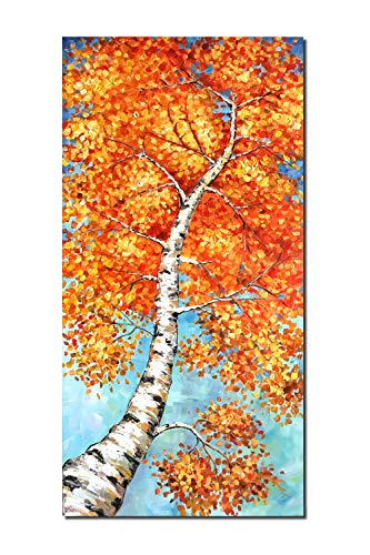 Diathou Art 48×24 inch Wall Art red and Yellow Maple Tree Oil Painting, Three-Dimensional Wall Decoration, Modern Landscape Oil Painting, Hand-Painted Art, Contemporary Natural Oil Painting for Home