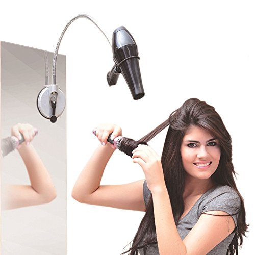 GardenHelper Desktop Hands Free Hairdryer Stand, Stainless 360 Degrees Rolling Freely Hair Dryer Holder with Suction Cup