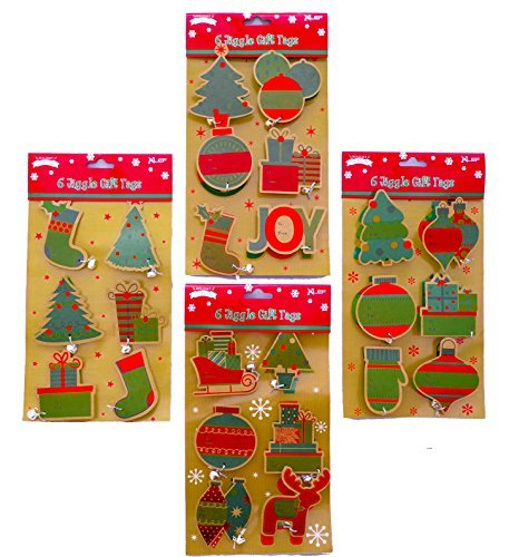 Christmas Gift Tags - 24 Ct Kraft Jiggle Sticker Tags with Bells- Assortment Of Holiday Designs Santa, Stockings Christmas Trees, Ornaments Sled All with Little Bells - Just Peel and Stick Adhesive