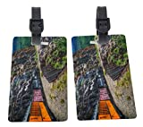 Rikki Knight Train on Mountainside Design Premium Quality Plastic Flexi Luggage Tags with Strap Closure - Great for Travel (set of 2)