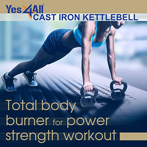 Yes4All Solid Cast Iron Kettlebell Weights Set