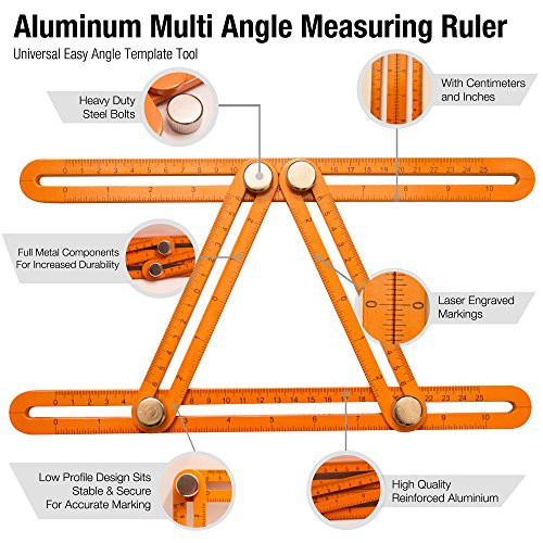 Universal Angle Template Measuring Tool Ruler, Bright Visibility ORANGE Heavy Duty Premium All Aluminum Construction, Easy Adjustable Anglerizer Template Tool for Masonry Builders Handymen Carpenters by UNI-ANGLE (Image #1)