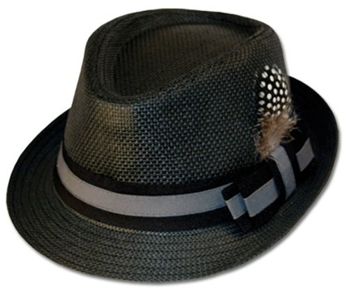 EH8241F - Unisex Structured 100% Paper Straw Matching Feather Band Fedora Hat - Black/Large/X-Large