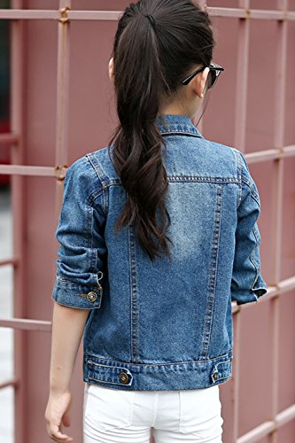 Aulase Denim Jackets Girl Denim Jackets Classic Basic Button Down Coat Girls' Outwear 6-7Y by Aulase (Image #1)