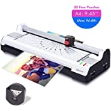 "Ejoyous 4-in-1 Hot and Cold A4 Laminator Machine with 20 Pouches, Trimmer and Corner Rounder, Laminating Machine Support 9.45"" Max Width, 4 Mins Warm Up, 3 Cut Ways, Jam Free for Home Office School"