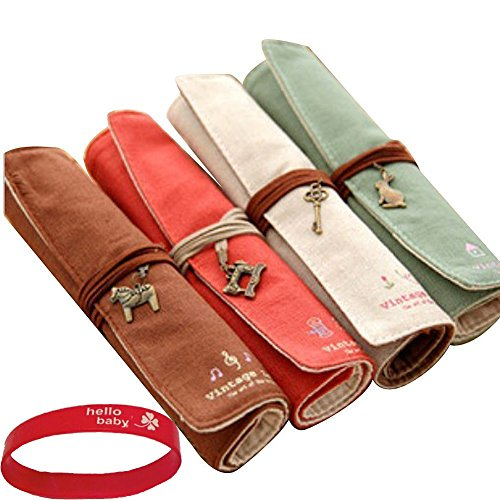 Eforstore 4 Pcs Pastorable Canvas Pen Bag Pencil Case Cosmetic Makeup Bag Pouch (4Pcs Roll Up Retro)