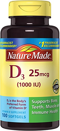 Nature Made Vitamin D3 1000 IU Softgels, 100 Ct