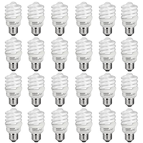 Philips 434399 60 Watt Equivalent Compact Fluorescent Spiral Light Bulb, Daylight, 24 Pack