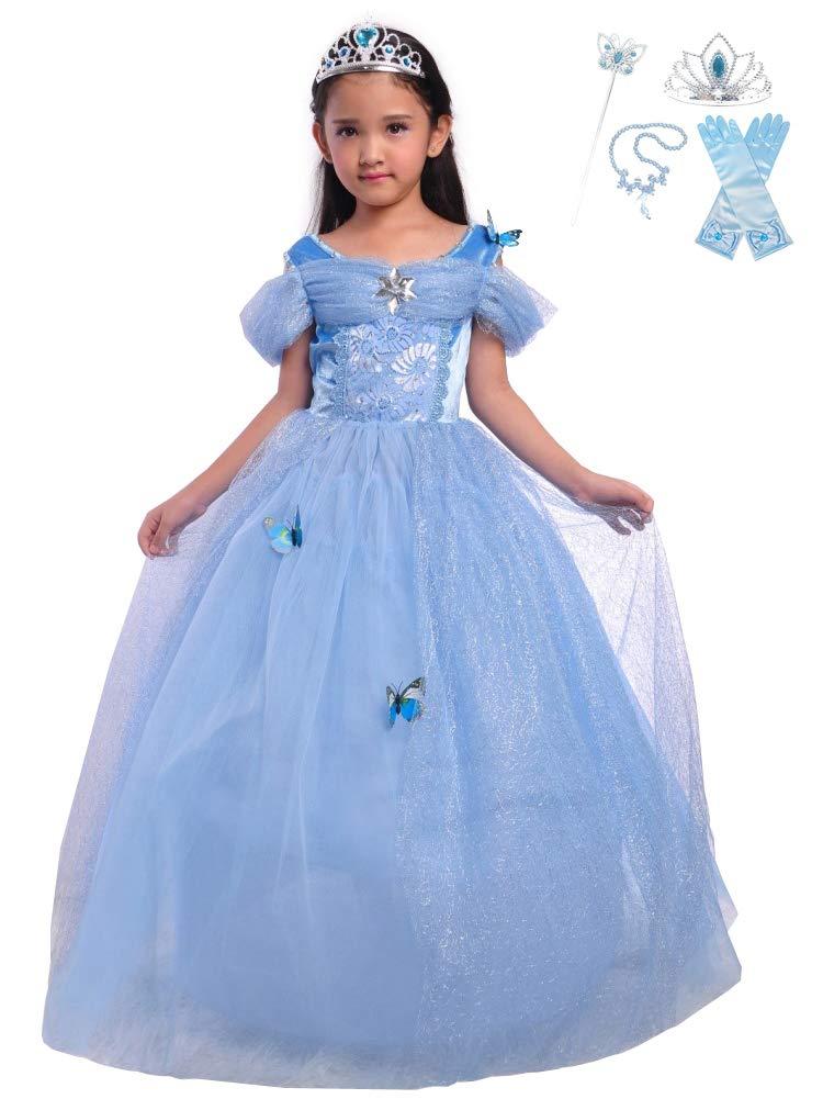 - 51avemHc1aL - Lito Angels Girls Princess Cinderella Belle Aurora Jasmine Dress Up Costume Halloween Fancy Dress with Accessories
